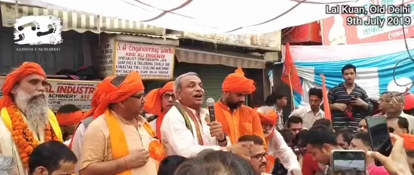 The video grab of the VHP meeting in Old Delhi on July 9. Surendra Jain (at the centre in white) is seen speaking.