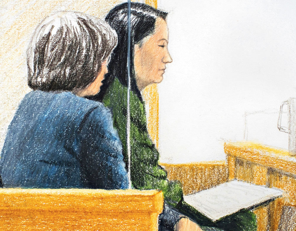 A courtroom sketch shows Huawei chief financial officer Meng Wanzhou (right) with a translator at a bail hearing in a Vancouver court.