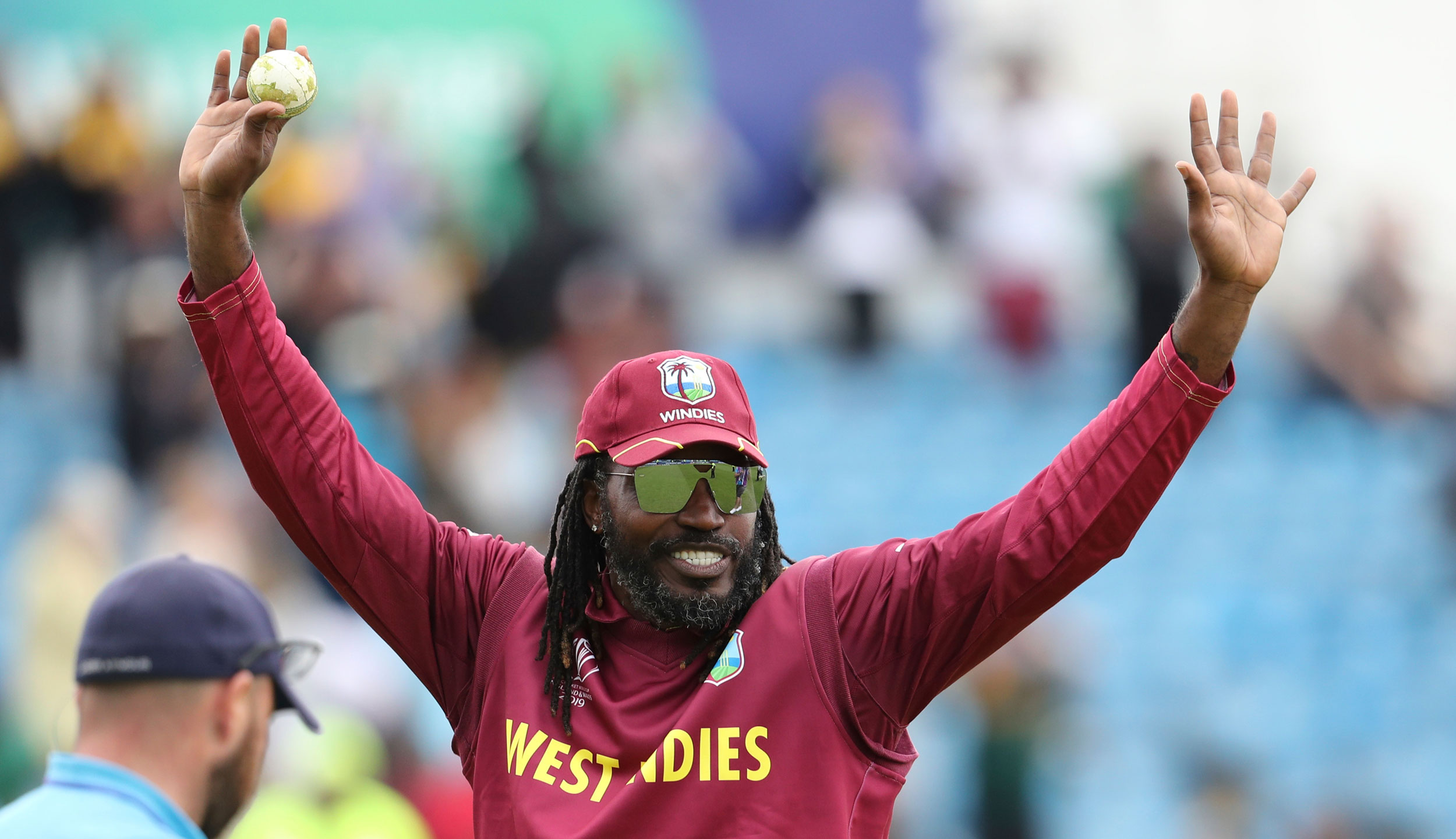 Chris Gayle during the ICC Cricket World Cup match at Headingley in Leeds, England, on July 4, 2019.