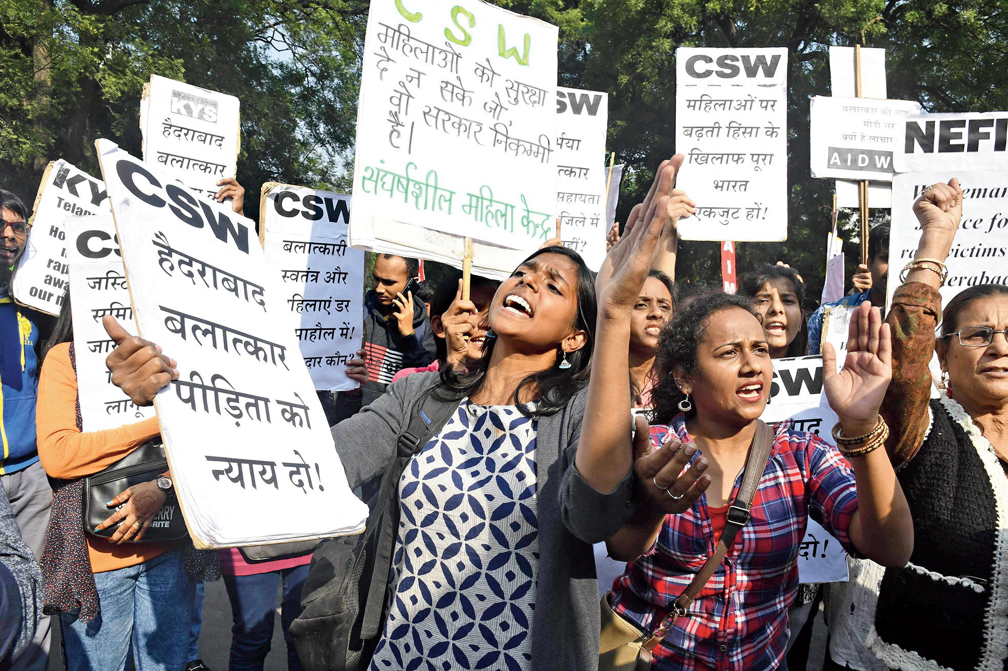 A protest in New Delhi on Monday against the gang rape and murder of the veterinarian near Hyderabad.
