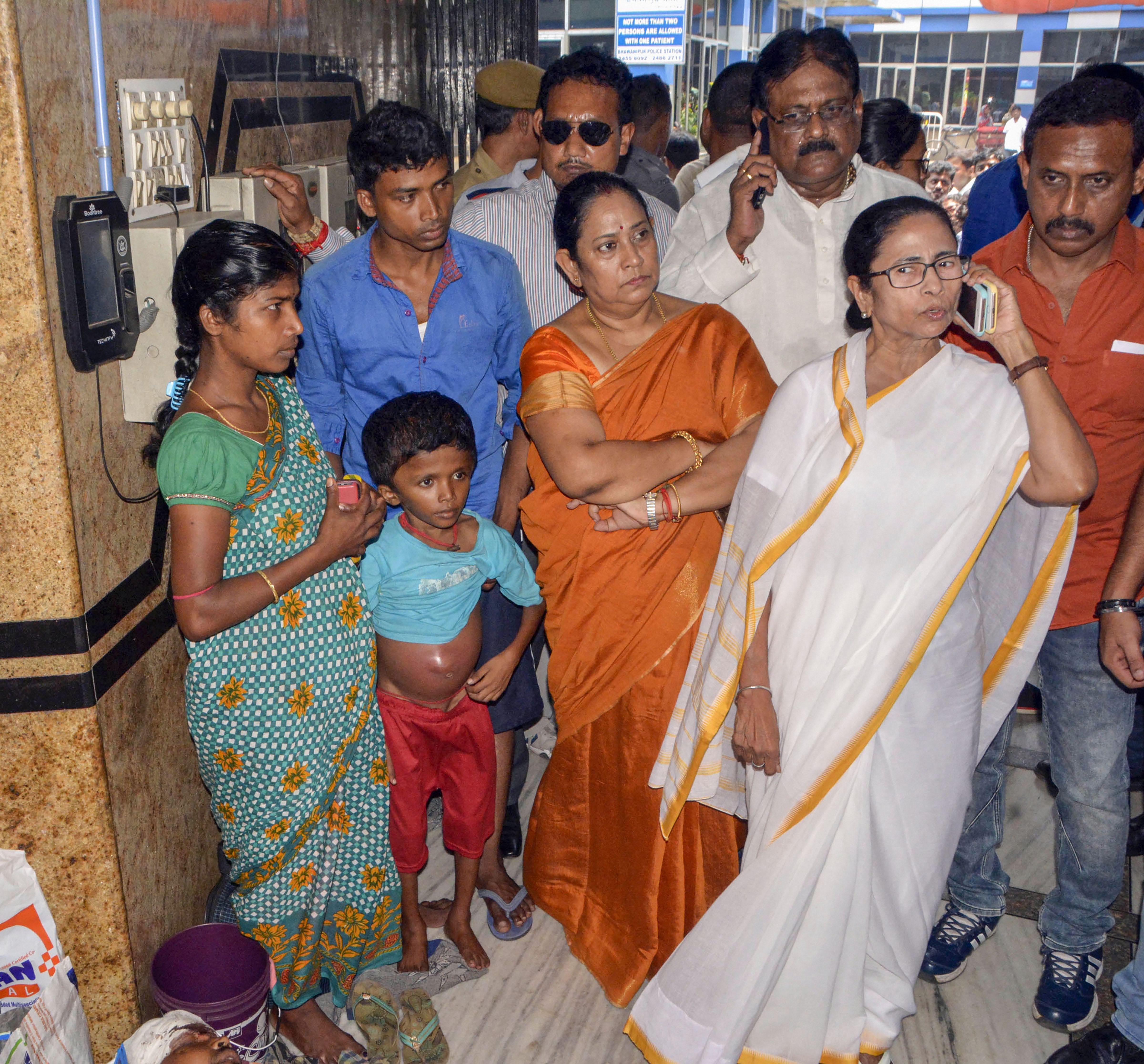 Mamata Banerjee at SSKM Hospital in Calcutta on Thursday.