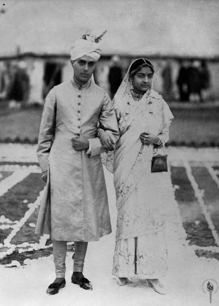 Jawaharlal Nehru with his bride Kamala Nehru after marriage, standing outside the wedding camp, 1916
