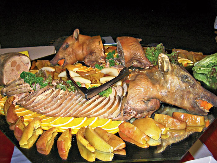 In the Philippines, the traditional dish is a whole roast pig, known as lechon