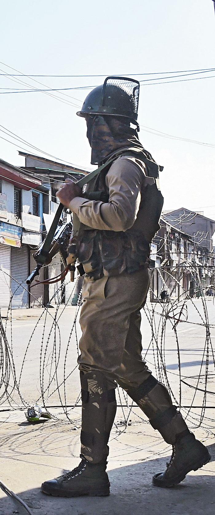 A security jawan in Srinagar on Wednesday