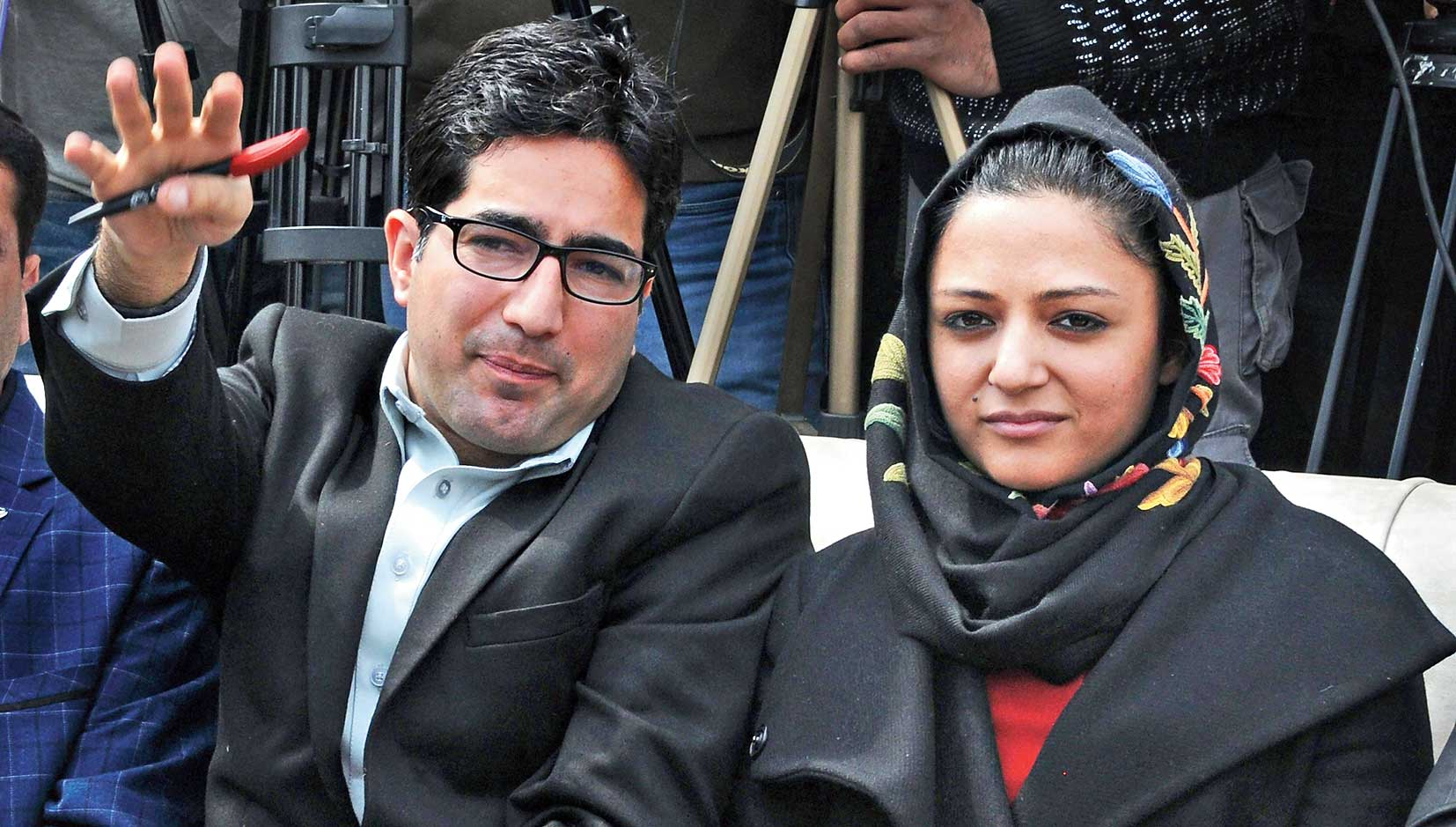 "Shah Faesal with Shehla Rashid at the launch of his political party in Srinagar. Faesal, who has floated the Jammu and Kashmir People's Movement party, had criticised the ""unprecedented"" lockdown in the Valley."