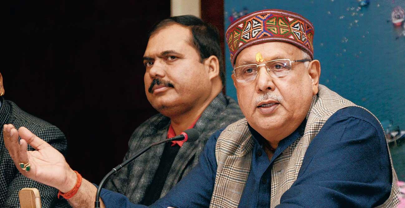 Uttar Pradesh agriculture minister Surya Pratap Shahi at the BJP office in Ranchi on Thursday.