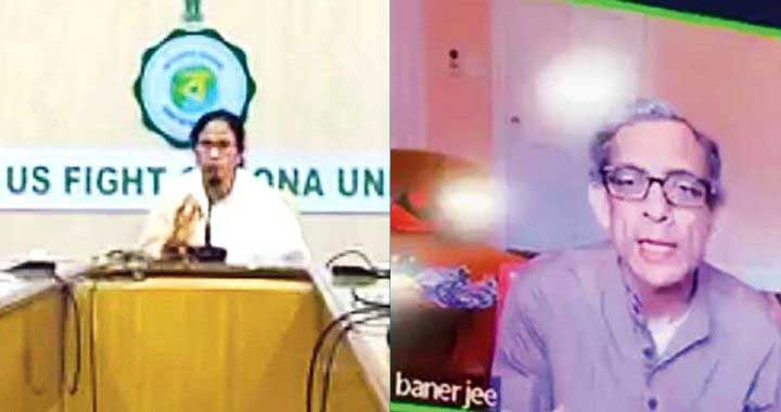 Mamata Banerjee at the videoconference with Abhijit Vinayak Banerjee on Tuesday