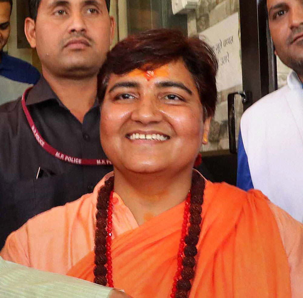 Sadhvi Pragya Singh Thakur in Bhopal on May 5, 2019. The BJP-Congress rivalry is essentially a competition for Hindu votes, which has been most starkly revealed in the fight for the Bhopal parliamentary seat