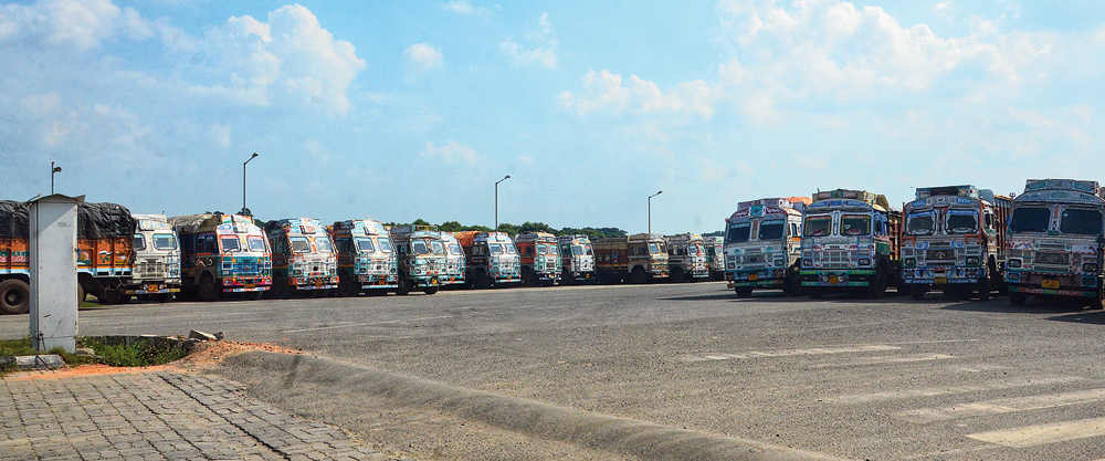 Trucks at a parking lot in Bongaon near the Petrapole integrated checkpost