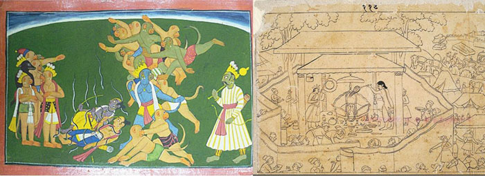 Two examples of finished Pahari Ramayana paintings from the British Library and the Metropolitan Museum in New York