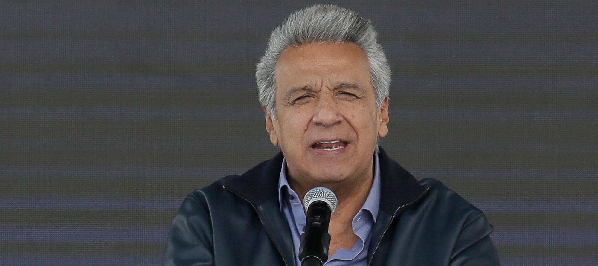 Ecuador's President Lenin Moreno speaks during the inauguration of the