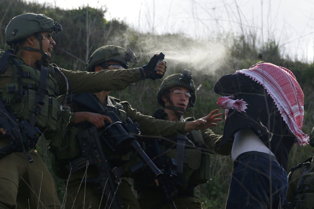 Israeli soldiers use pepper spray on a Palestinian demonstrator near a Jewish settlement Yitzhar, near the West Bank city of Nablus