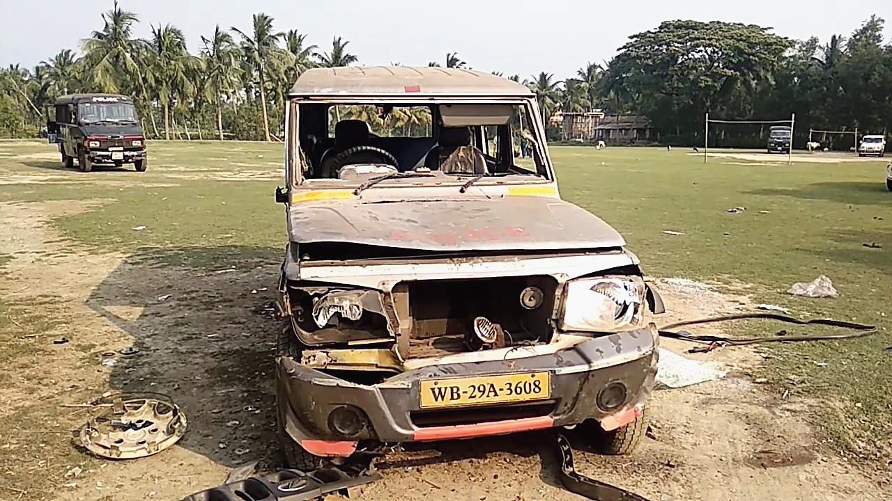 A vandalised vehicle.