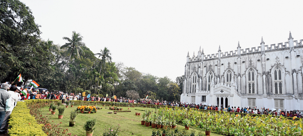 Thousands assemble at St Paul's Cathedral in Calcutta on Monday for a protest march against the amended citizenship act
