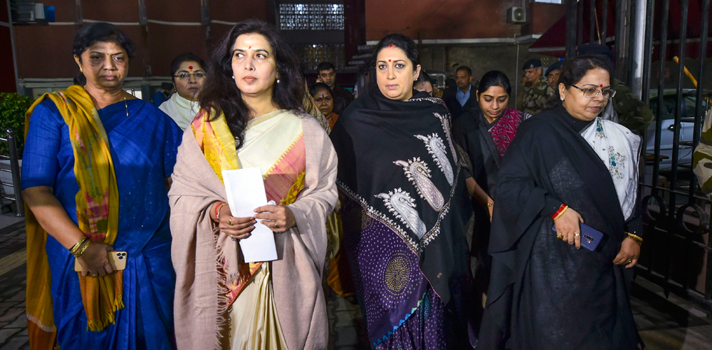 Smriti Irani and other BJP leaders at the Election Commission in New Delhi on December 13