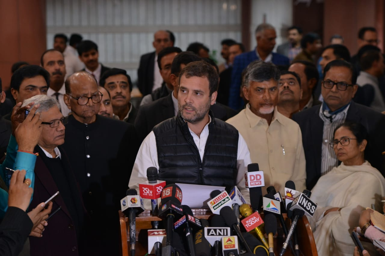 Congress President Rahul Gandhi, NCP's Sharad Pawar; TMC's Mamata Banerjee and Andhra Pradesh CM Chandrababu Naidu address the media after the opposition parties meeting in New Delhi on Wednesday.