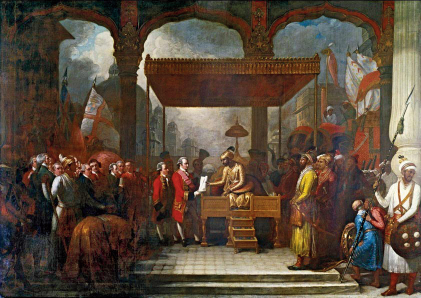 A painting by Benjamin West of the Mughal emperor, Shah Alam, conveying the Grant of the Diwani to Lord Robert Clive in August 1765