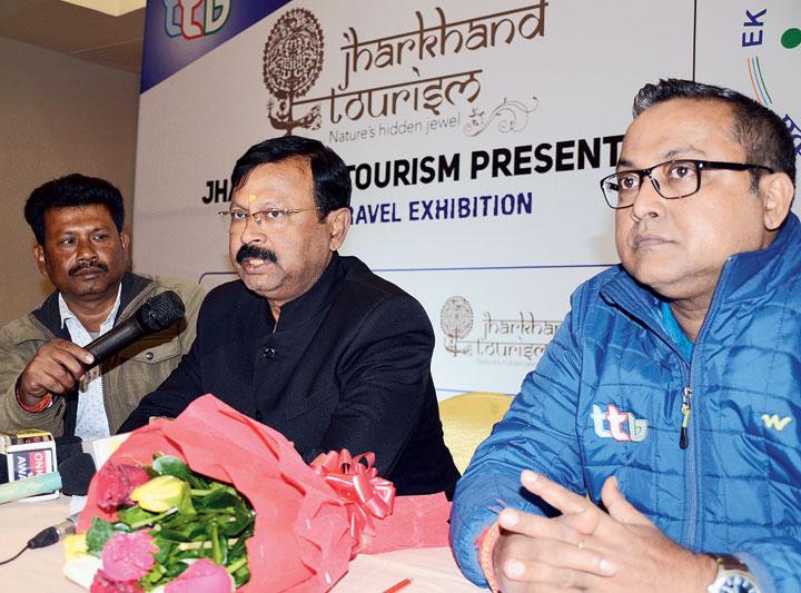 DGM of Jharkhand Tourism Development Corporation, Alok Kumar (in black), addresses the news meet at Harmu Road in Ranchi on Thursday.