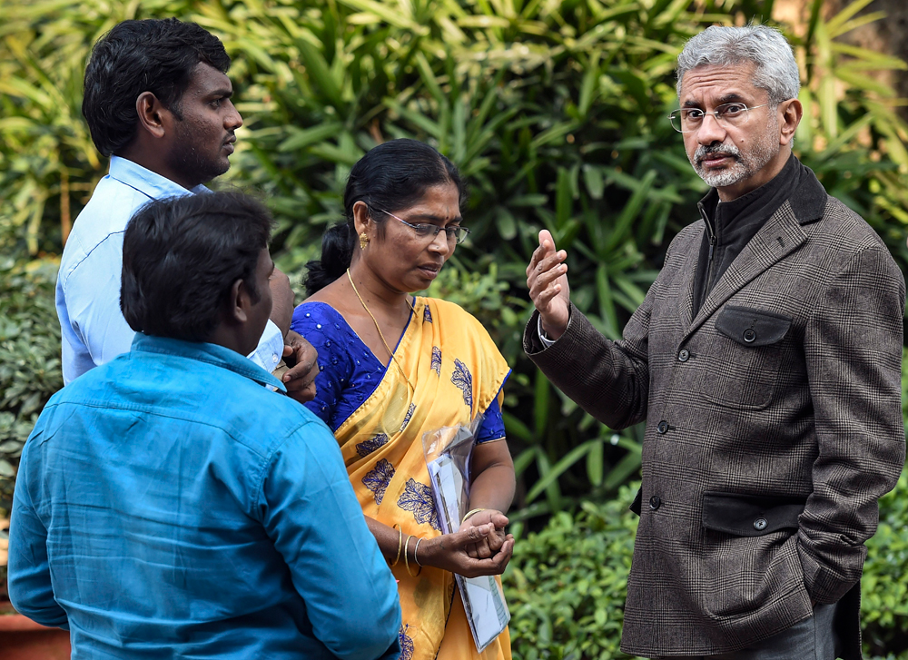 External affairs minister S Jaishankar in New Delhi on February 10 with the family of a student still stranded in Wuhan
