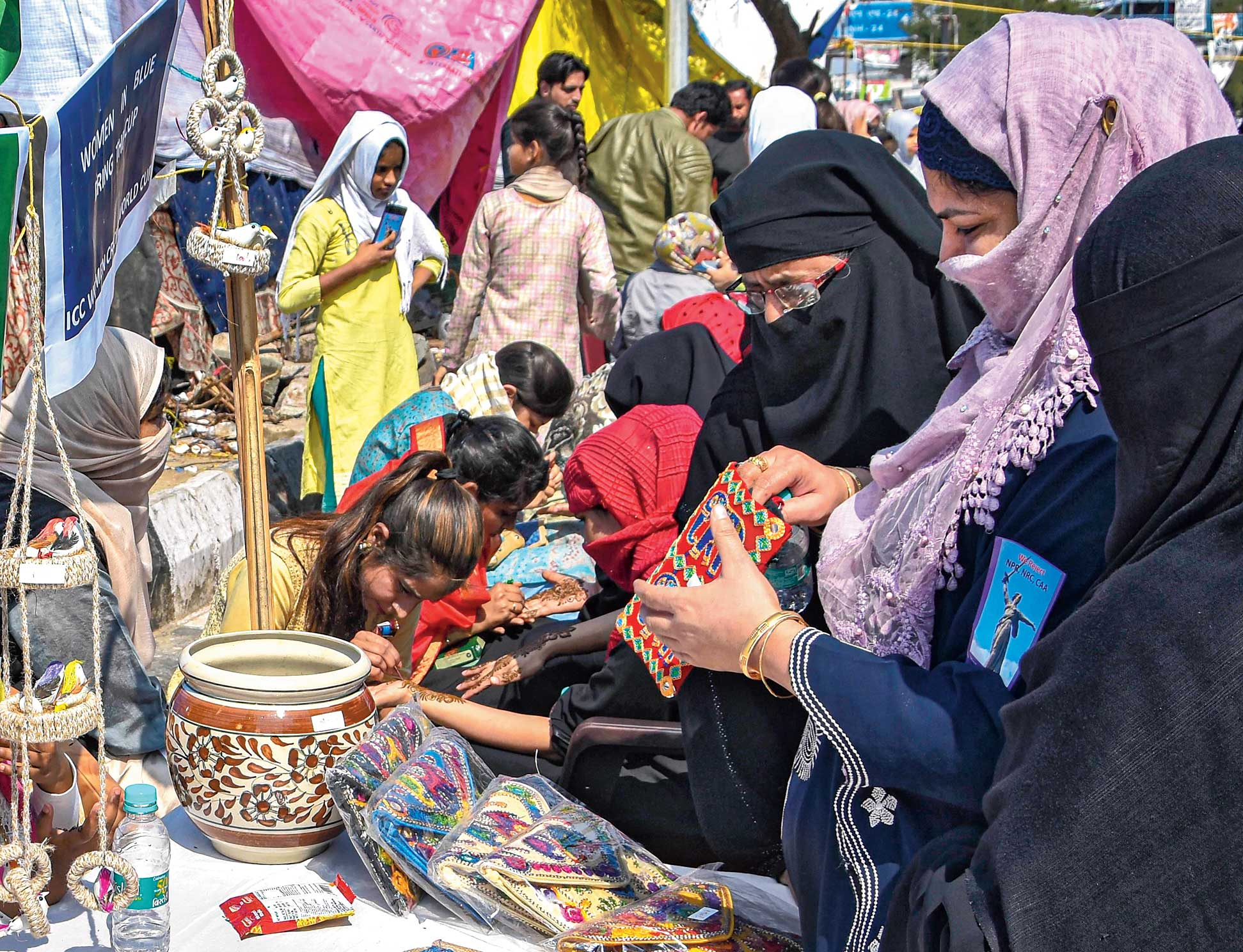An exhibition-cum-sale on Women's Day at Shaheen Bagh.
