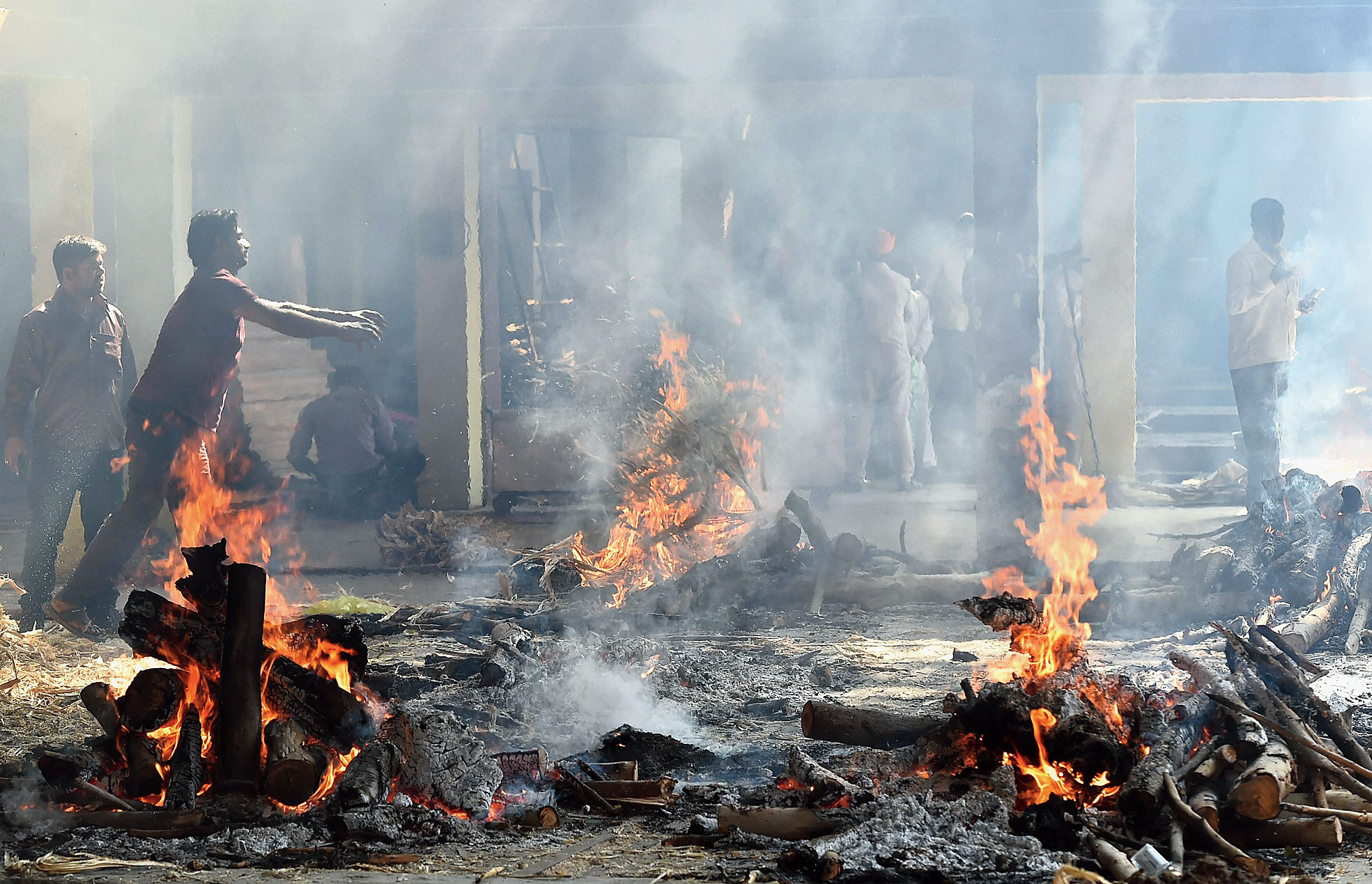 A mass funeral in Amritsar on Saturday for the victims of the train accident.