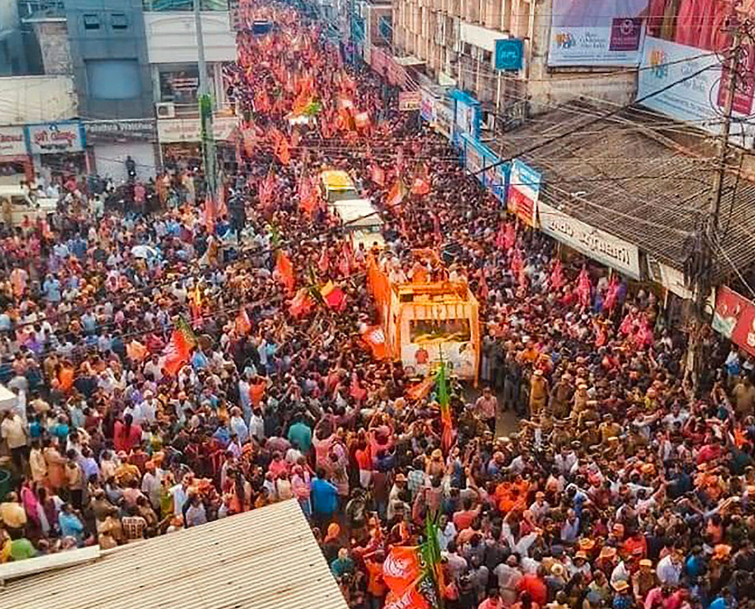 BJP supporters during the election roadshow of party National President Amit Shah inPathanamthitta district of Kerala.