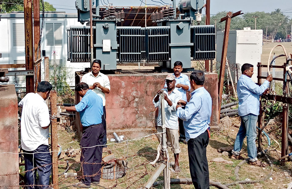 Work in progress for uninterrupted power supply at the Bali yatra site in Cuttack on Sunday.