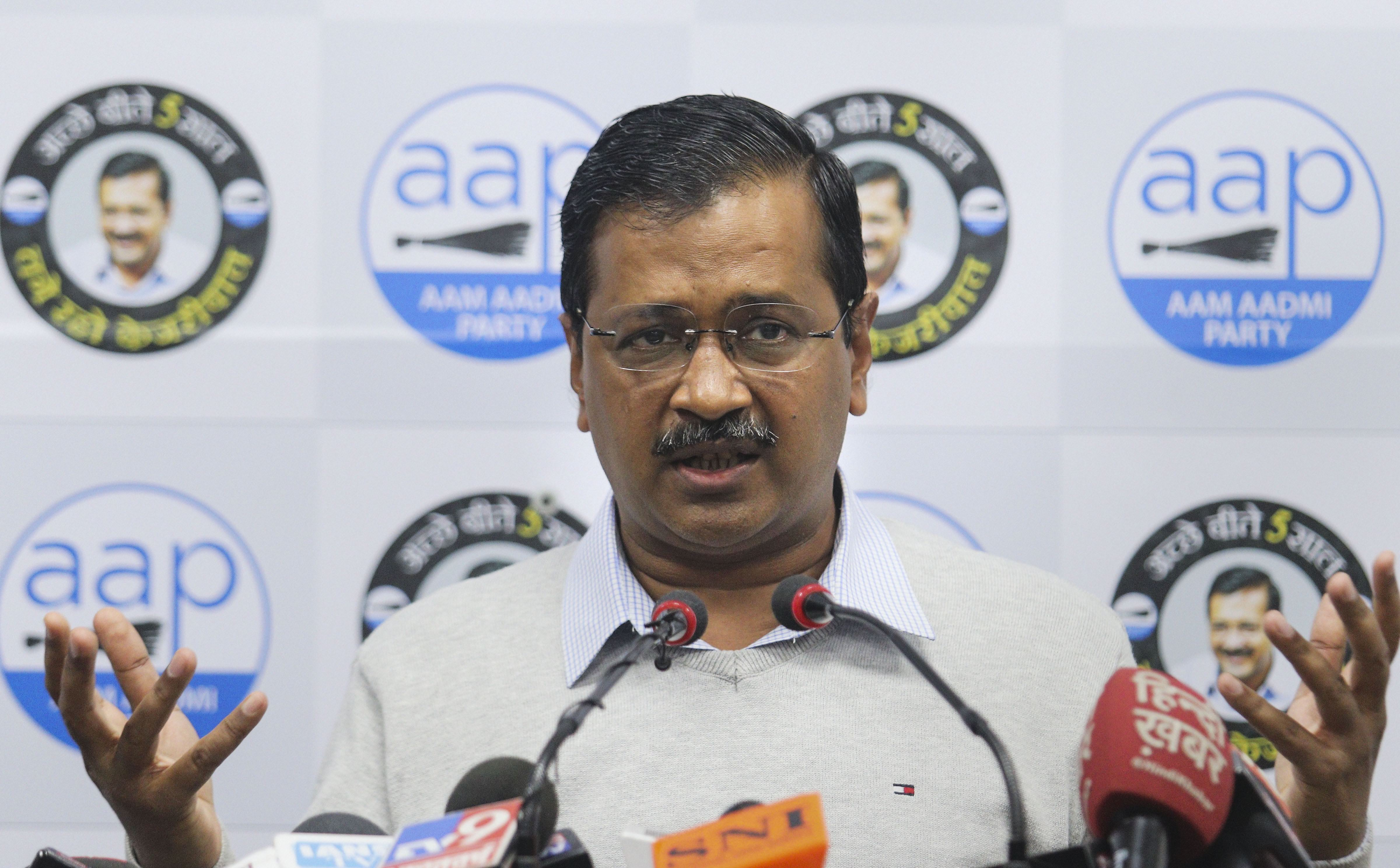 Delhi chief minister and AAP convenor Arvind Kejriwal addresses a press conference at the party office, in New Delhi, Wednesday, Febraury 5, 2020
