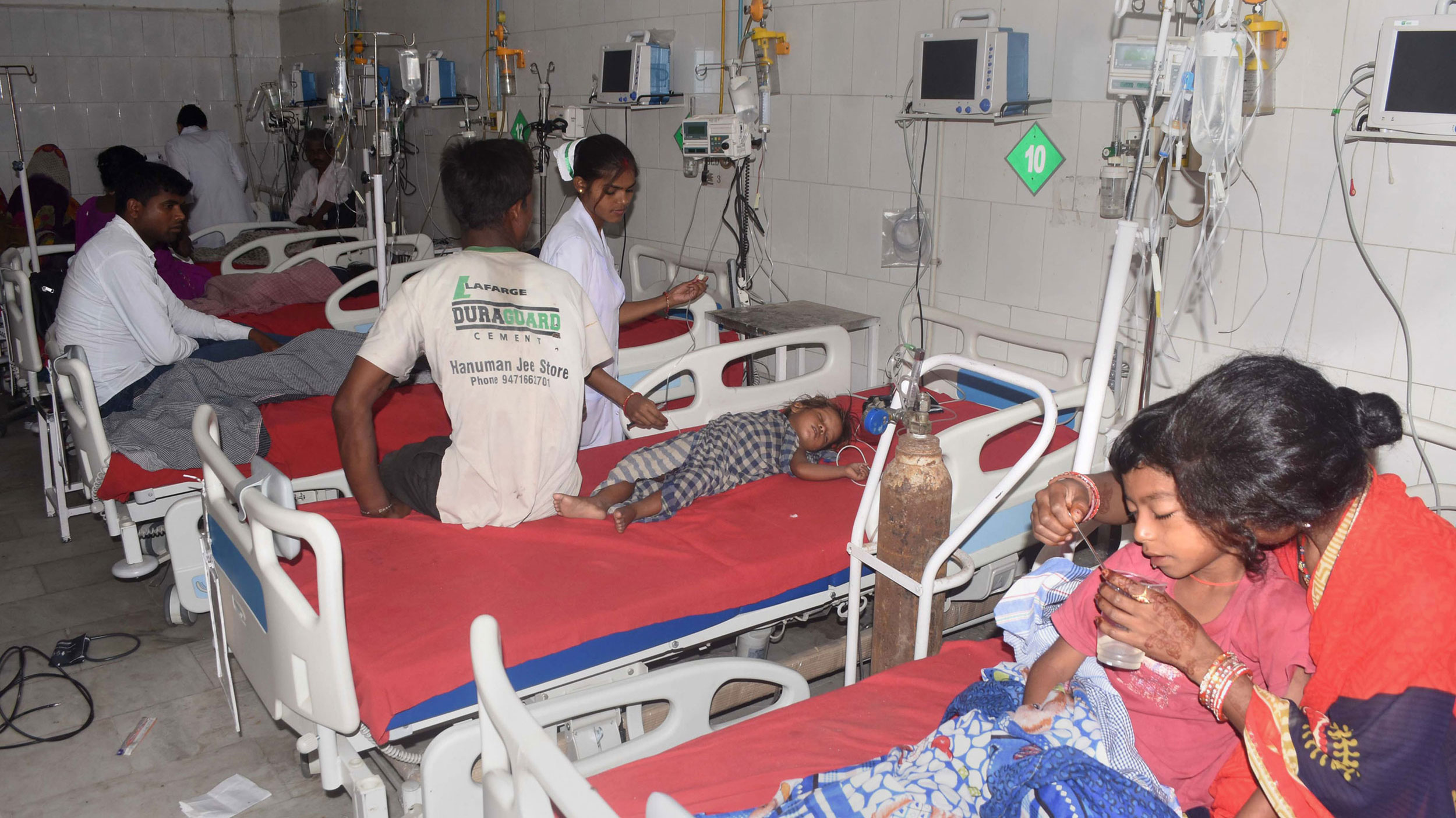 Children with Acute Encephalitis Syndrome being treated at a hospital in Muzaffarpur on June 15, 2019.