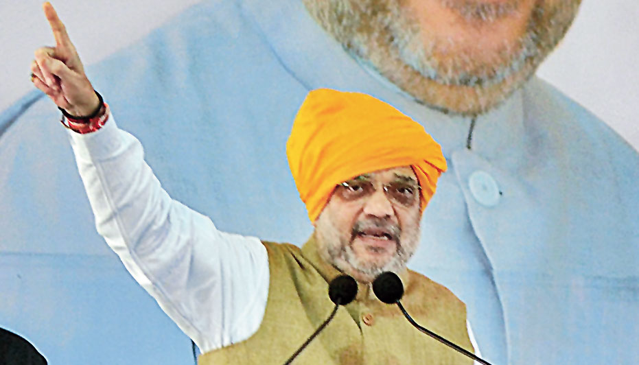 Shah at an election rally in Maharashtra's Sangli district on Thursday.
