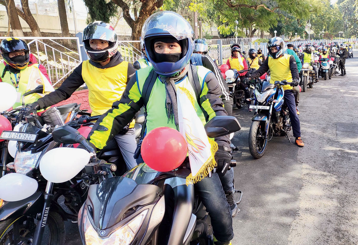 Bikers participate in a Christmas carol rally from Shillong to Sohra on Wednesday