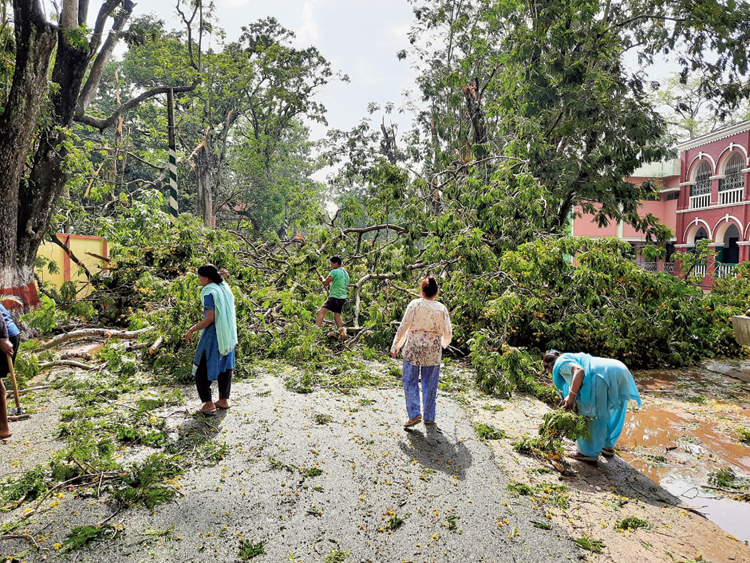 A report from State Emergency Operation Centre said in West district 53 families affected and seven houses were severely damaged and 53 partly, in Sepahijala 16 villages were affected and five villages in Gomati.