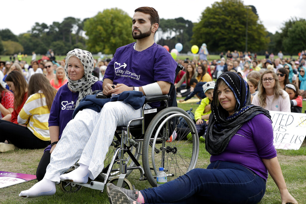 Mustafa Boztas, a survivor of last week's mosque shootings, attends the March for Love event in Hagley Park.