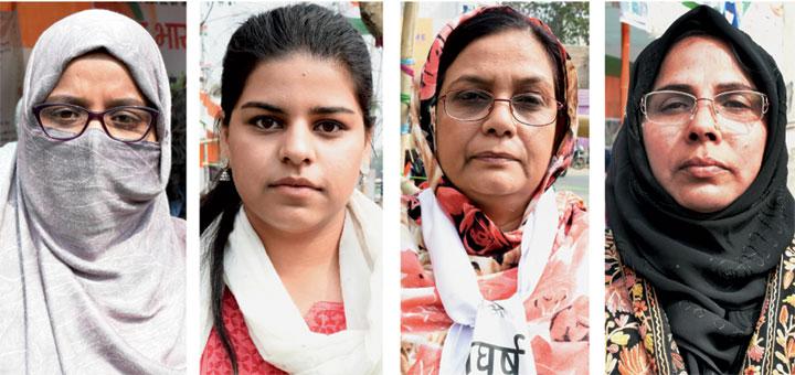 Afreen Azad, Falaque Khan, Ghazala Tasmeen and Rani Parveen at the protest venue in front of Haj House in Kadru, Ranchi, on Thursday.