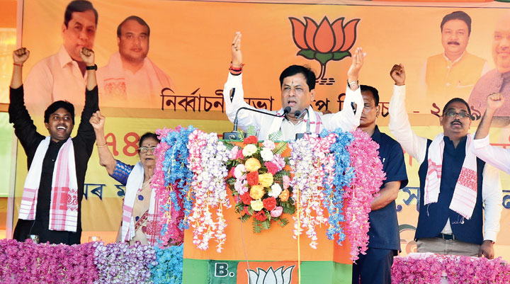 Chief minister Sarbananda Sonowal speaks at a rally on Wednesday