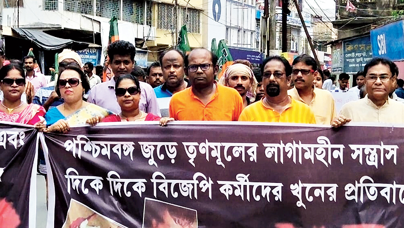 Sayantan Basu leads a march in Basirhat