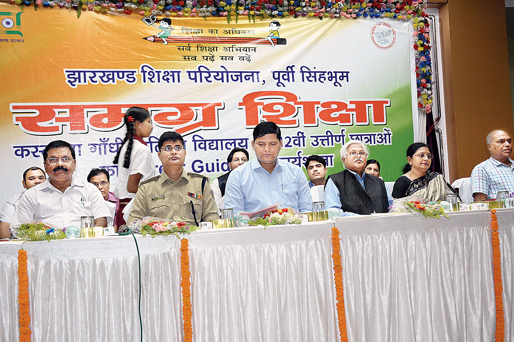 East Singhbhum DC Amit Kumar (third from left) and SSP Anoop Birtharay (second from left) along with other resource persons at the workshop in Jamshedpur on Saturday.