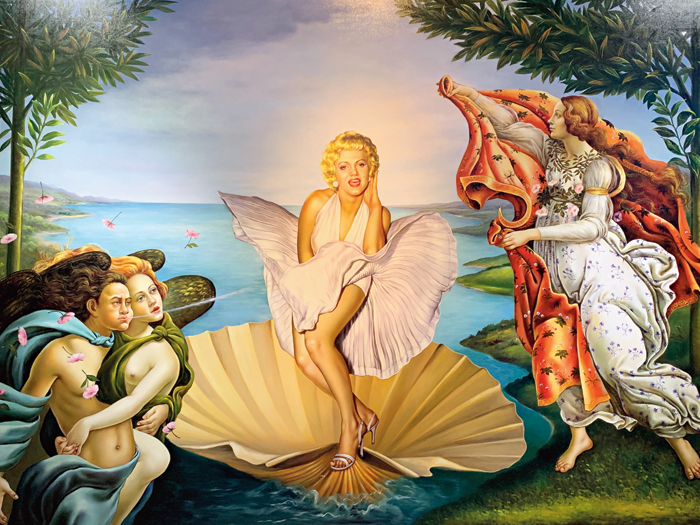 Marilyn Monroe meets Sandro Botticelli in Pattaya's The Parody Museum's take on The Birth of Venus