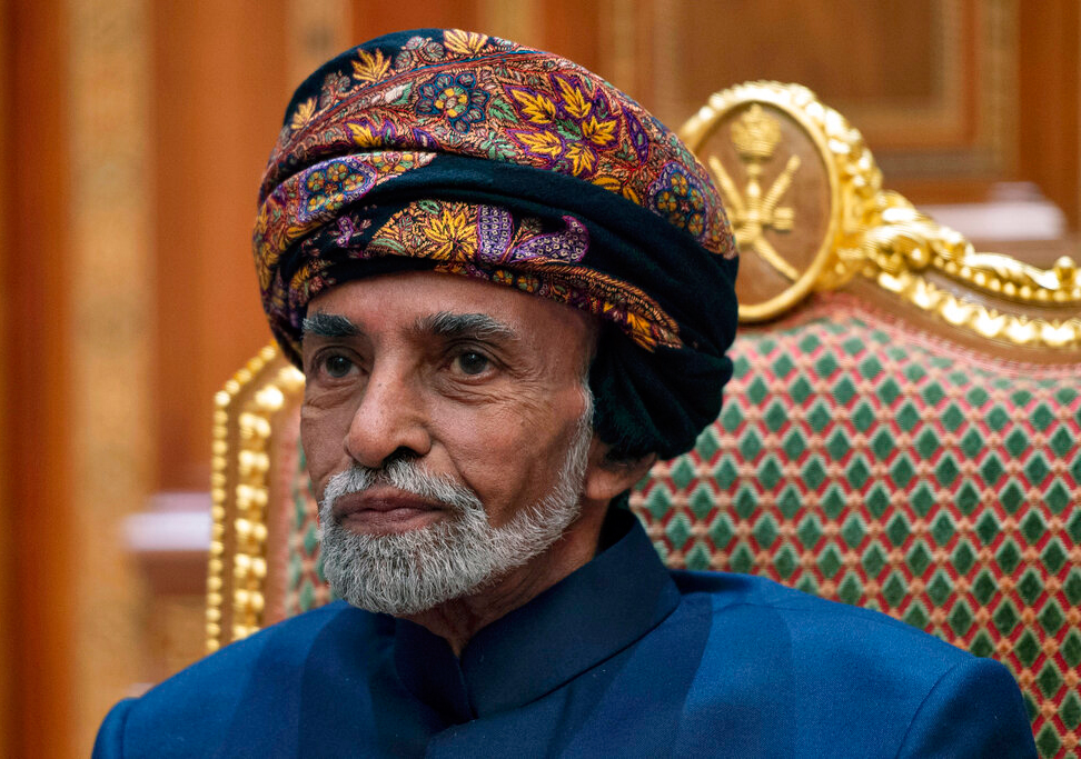 In this Monday, January 14, 2019 file photo, Sultan of Oman Qaboos bin Said al-Said sits during a meeting with Secretary of State Mike Pompeo at the Beit Al Baraka Royal Palace in Muscat.