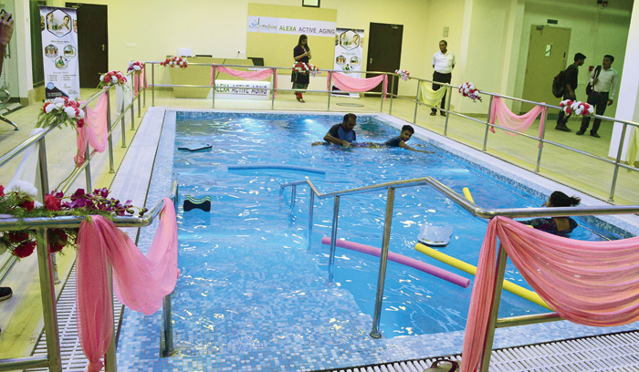 The hydrotherapy pool at Snehodiya, exercises in which can improve reflexes without risking a fall