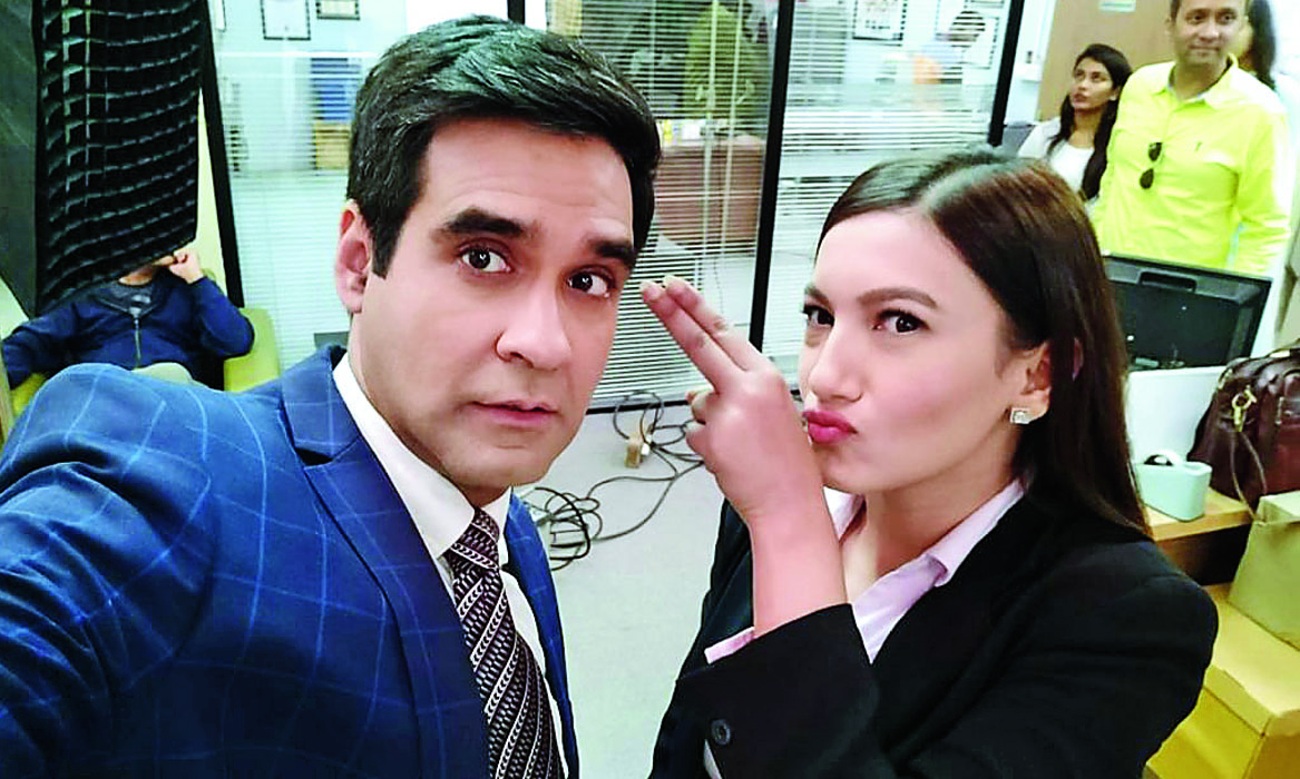 Mukul Chadda with Gauahar Khan on the sets of The Office, now streaming on Hotstar