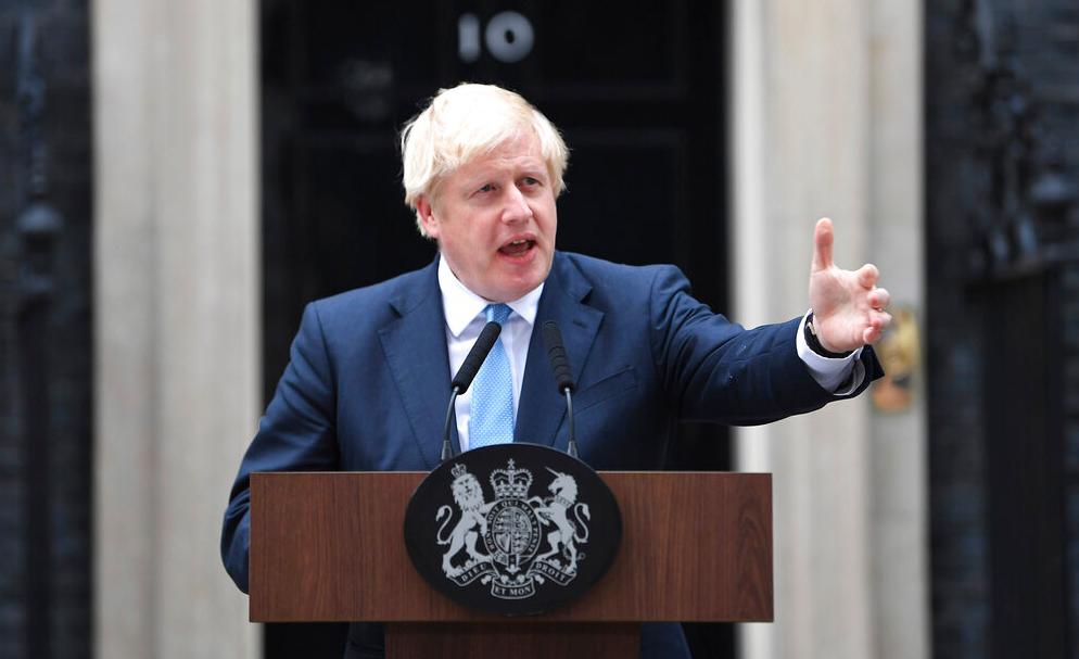 Prime Minister Boris Johnson speaks to the media outside 10 Downing Street in London, Monday, September 2, 2019.