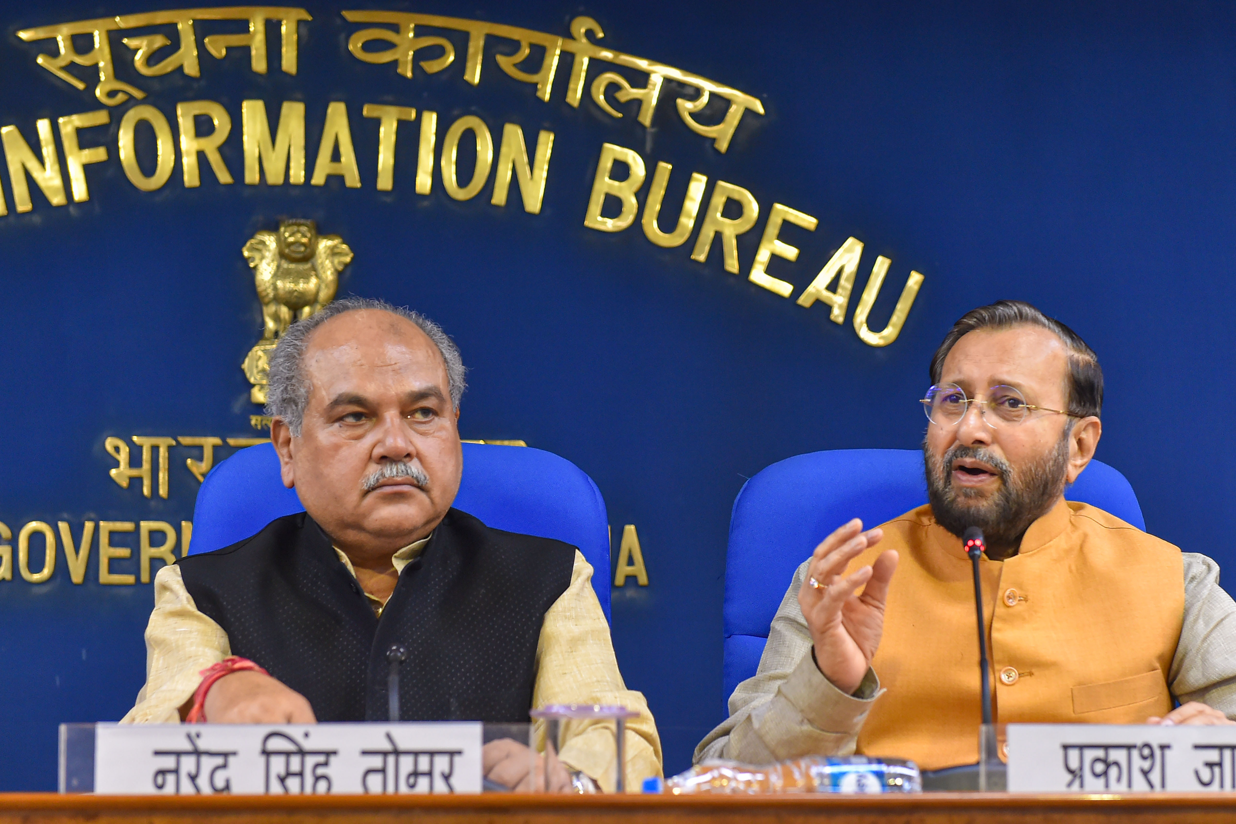 """Narendra Singh Tomar (left) said: """"The MGNREGA wage rate will be governed by its own law."""""""