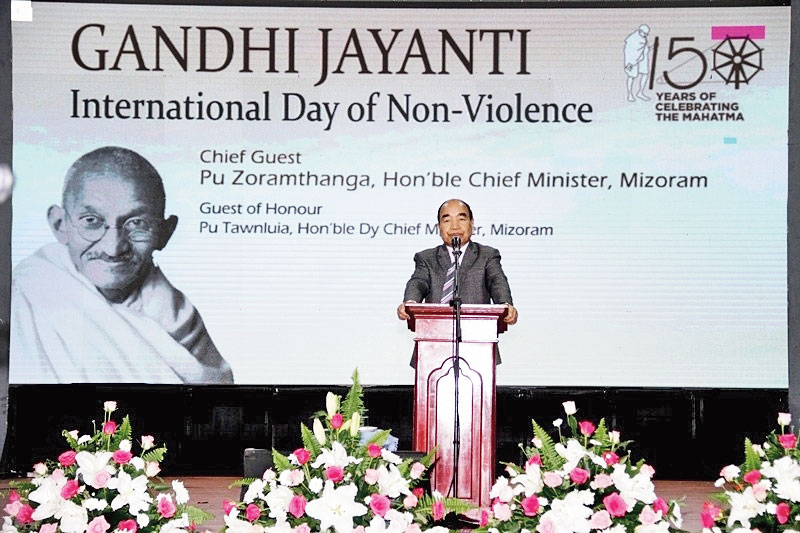Zoramthanga speaks at the event in Aizawl on Wednesday.