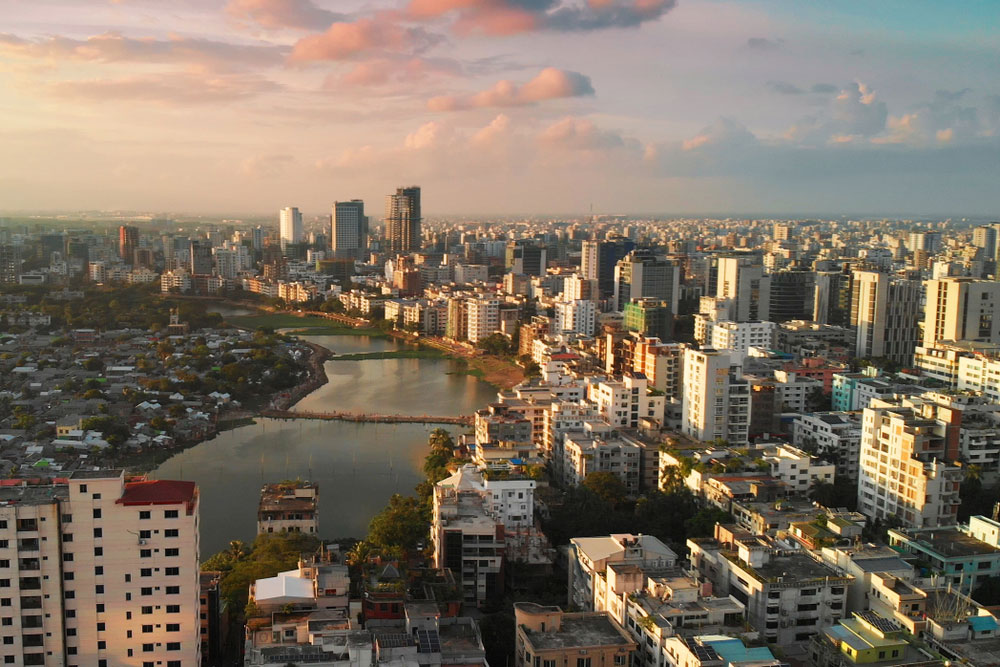 Dhaka skyline. When Bangladesh appeared on the world map as an independent nation in 1971, a nine-month war of independence had left it with a fragile economy, devastated infrastructure, and millions of homeless people. Data show that it has since tackled the problem of extreme poverty