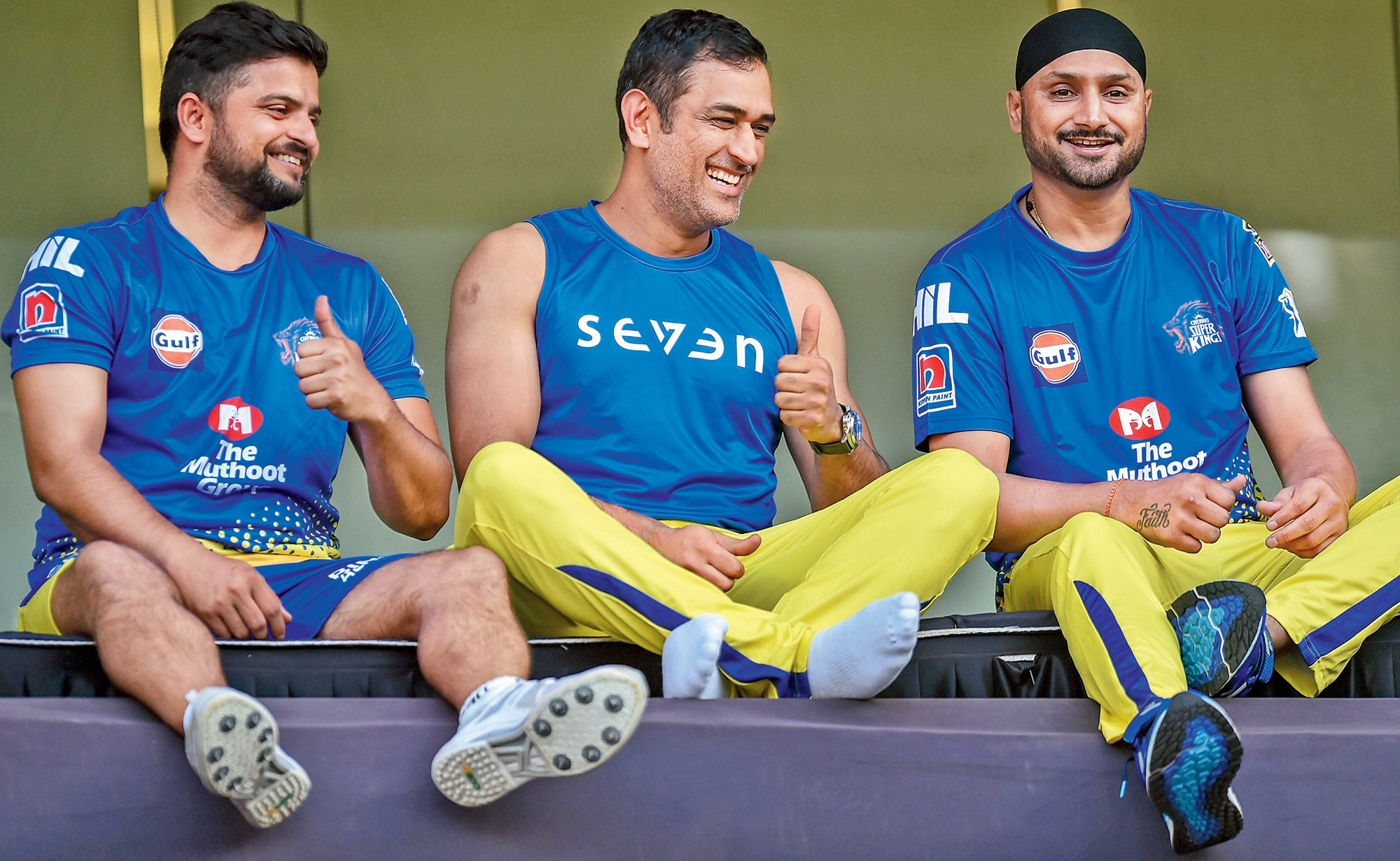 Suresh Raina, Mahendra Singh Dhoni and Harbhajan Singh of Chennai Super Kings at the Wankhede on Tuesday.