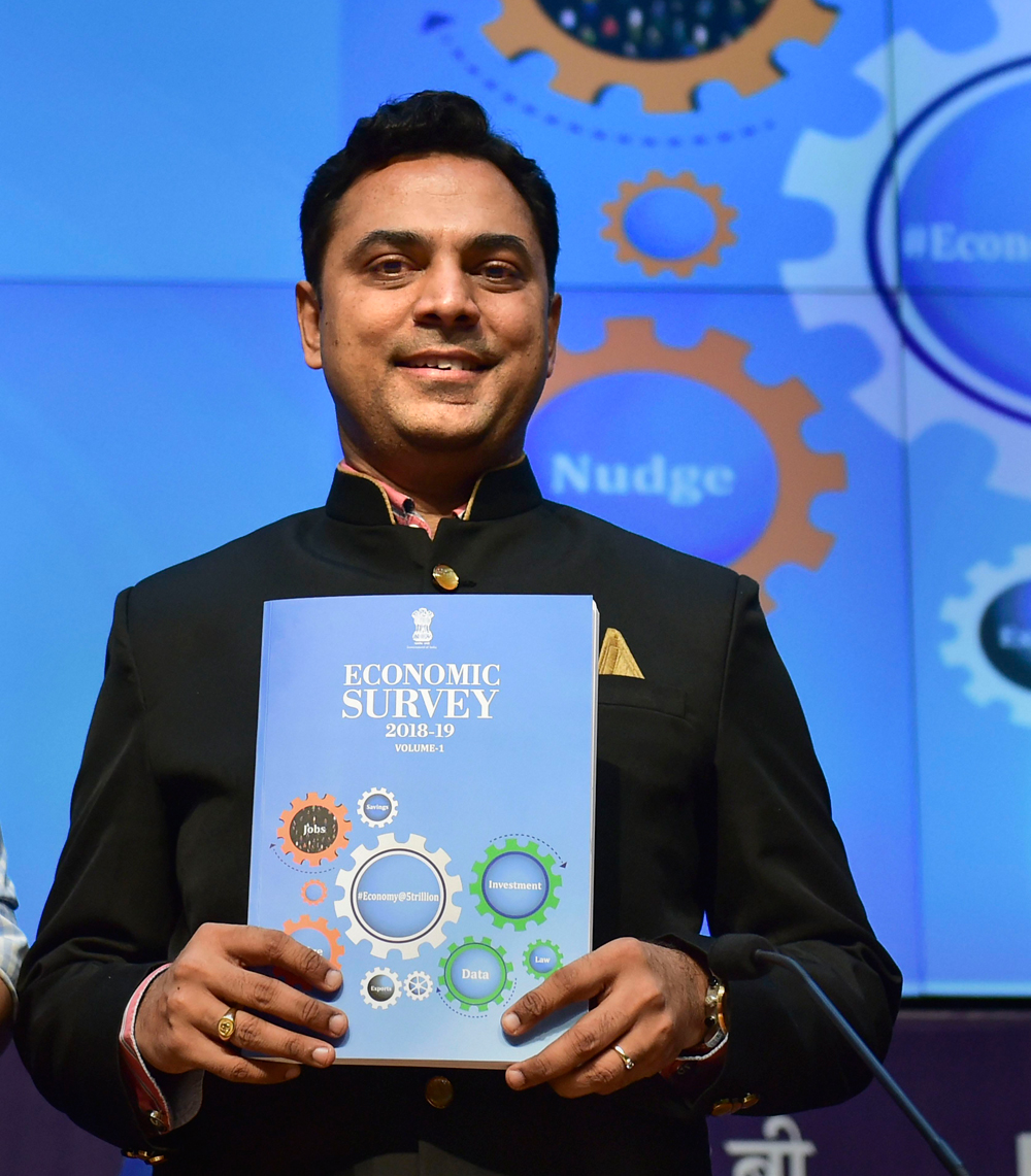 Chief economic adviser K.V. Subramanian at an event to launch the Economic Survey 2018-19. Compared to the growth rate of the gross domestic product of 6.8 per cent during 2018-19, the projected growth for 2019-20 is estimated to be at 7.0 per cent