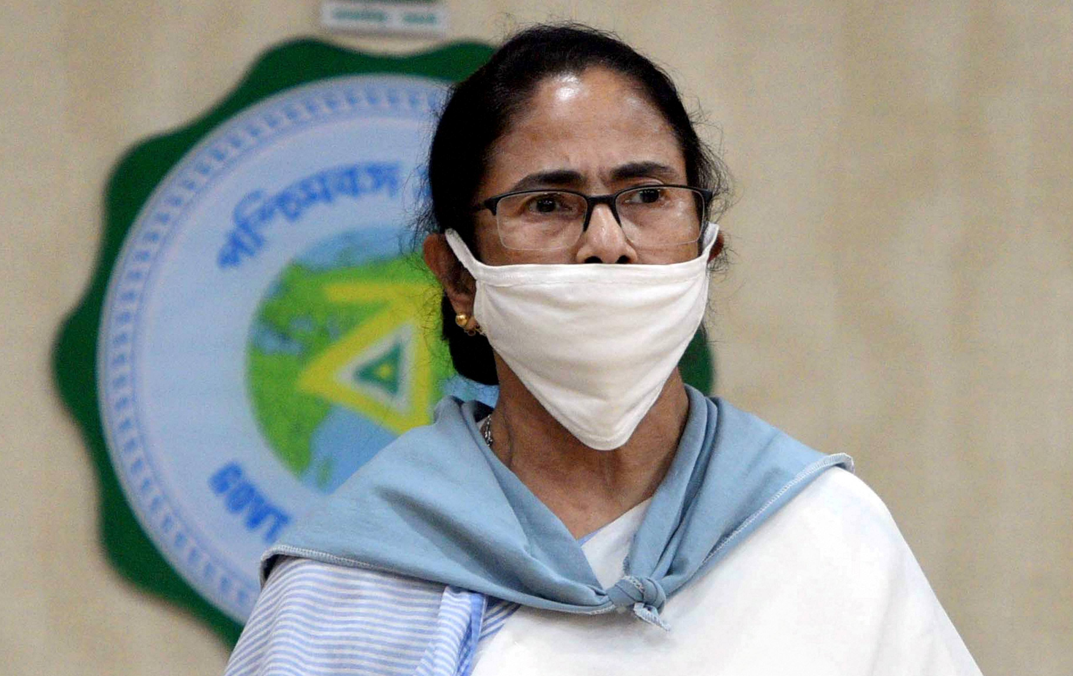 Bengal Chief Minister Mamata Banerjee interacts during a news conference at Nabanna in Calcutta on May 13