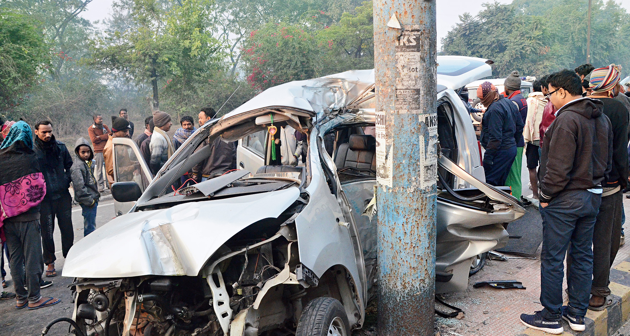 The mangled car after the accident in Bokaro on Friday.