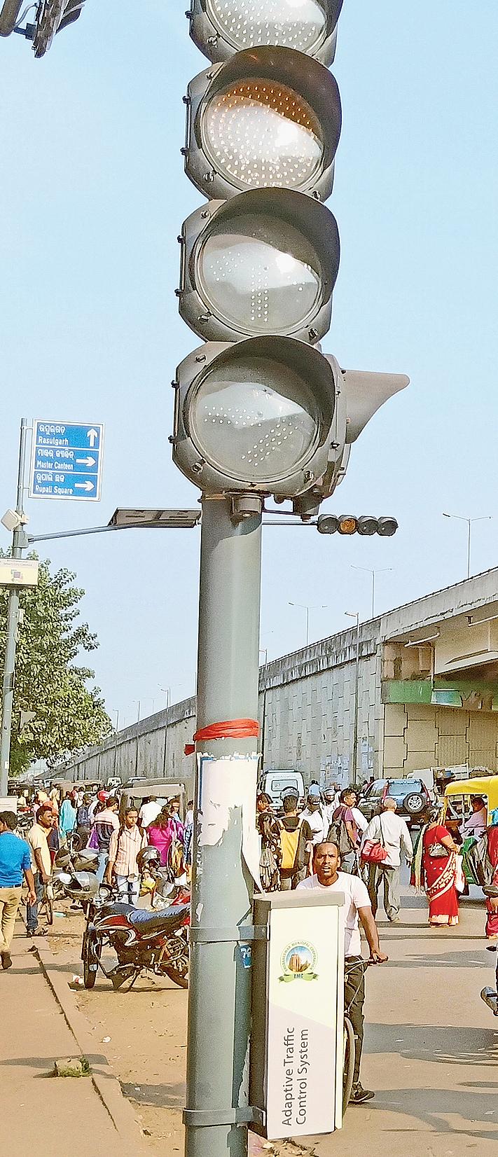 The defunct adaptive traffic signalling system at Vani Vihar Square in Bhubaneswar.